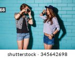 best friends hipster girls... | Shutterstock . vector #345642698