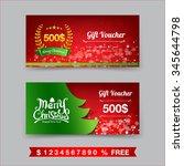 merry christmas gift voucher... | Shutterstock .eps vector #345644798