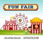children buying ticket at fun... | Shutterstock .eps vector #345654248