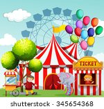 people working at the amusement ... | Shutterstock .eps vector #345654368