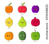 cute and funny fruits with... | Shutterstock .eps vector #345658820