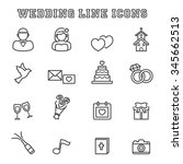 wedding line icons  mono vector ... | Shutterstock .eps vector #345662513