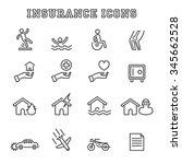 insurance line icons  mono... | Shutterstock .eps vector #345662528