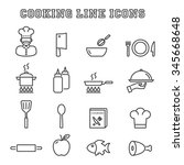 cooking line icons  mono vector ... | Shutterstock .eps vector #345668648