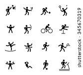 athlete sport action silhouette ... | Shutterstock .eps vector #345670319