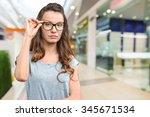beautiful business woman in... | Shutterstock . vector #345671534