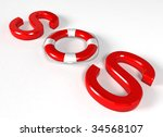 sos lifebuoy - 3d rendering - stock photo