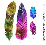 A Set Of 3 Watercolor Feathers...