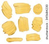 gold paint stokes isolated on... | Shutterstock . vector #345684230