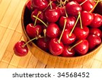 fresh cherries in wood bowl - stock photo