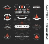 christmas labels and badges... | Shutterstock .eps vector #345686999