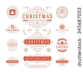 christmas labels and badges... | Shutterstock .eps vector #345687053