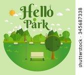 hello park. natural landscape... | Shutterstock .eps vector #345687338