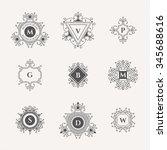 set of decorative monograms. ... | Shutterstock .eps vector #345688616