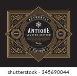 antique frame vintage border western label hand drawn engraving retro vector illustration | Shutterstock vector #345690044