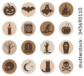 vector set of halloween icons | Shutterstock .eps vector #345690110