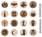 vector set of halloween icons | Shutterstock .eps vector #345690110