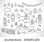 set of christmas icons doodle.... | Shutterstock .eps vector #345691100