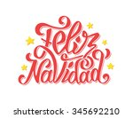 feliz navidad text lettering... | Shutterstock . vector #345692210