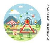 carnival  amusement park flat...   Shutterstock .eps vector #345694910
