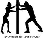 man and woman pushing a wall  | Shutterstock .eps vector #345699284