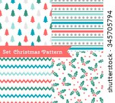 set of seamless christmas... | Shutterstock .eps vector #345705794
