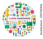 i love handmade. tools and... | Shutterstock .eps vector #345706946
