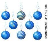 blue christmas balls. vector | Shutterstock .eps vector #345711788