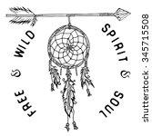 dream catcher and arrow  tribal ... | Shutterstock .eps vector #345715508