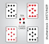 set of playing cards vector  ten | Shutterstock .eps vector #345719609