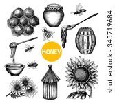 Honey Production Black Icons...