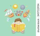imagination concept  boy ...   Shutterstock .eps vector #345722954