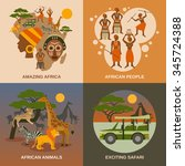 africa concept icons set with... | Shutterstock .eps vector #345724388