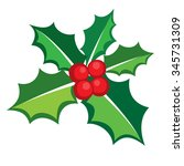 christmas holly berry icon... | Shutterstock .eps vector #345731309