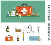 health care and medical flat... | Shutterstock .eps vector #345736766