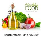 fresh vegetable with olive oil. ... | Shutterstock . vector #345739859