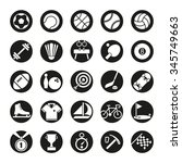 solid sports round icon set.... | Shutterstock .eps vector #345749663