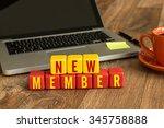 new member written on a wooden...   Shutterstock . vector #345758888