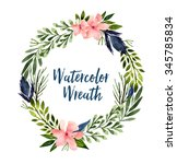 watercolor hand drawn wreath.... | Shutterstock . vector #345785834