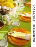 table setting in spring in... | Shutterstock . vector #345795104