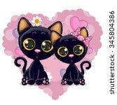 two cute kittens on a... | Shutterstock .eps vector #345804386