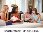 group of female friends taking... | Shutterstock . vector #345818156