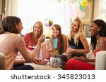group of female friends meeting ... | Shutterstock . vector #345823013