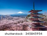 Red Pagoda With Mt Fuji On The...