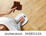 diet. young woman standing on... | Shutterstock . vector #345851126