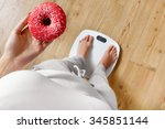 diet. woman measuring body... | Shutterstock . vector #345851144