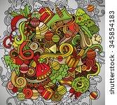 cartoon vector doodles hand... | Shutterstock .eps vector #345854183