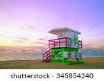 sunrise in miami beach florida  ... | Shutterstock . vector #345854240