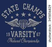varsity sport typography  t... | Shutterstock .eps vector #345856829