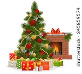 vector christmas tree with... | Shutterstock .eps vector #345859574